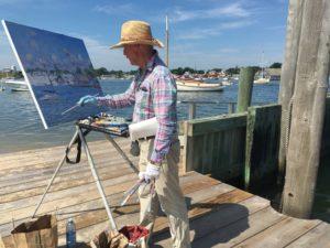 Jan Pawlowski painting on Chappaquiddick - July 2017