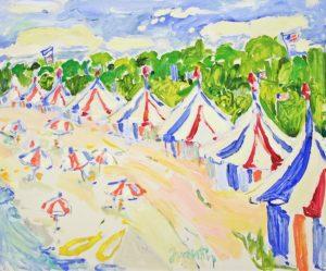 Cabanas & Umbrellas 20 x 24 oil on linen