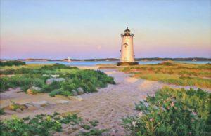 Moonrise Lighthouse Path 12 x 18 oil on linen