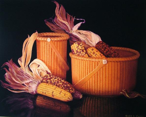 Nantucket Basket with Indian Corn